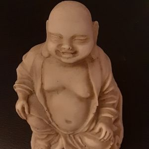 "GOOD LUCK BUDDHA, BISQUE EARTH TONE COLOR 4"" TALL"